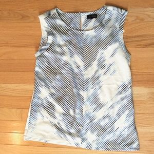 The Limited White/Blue Striped Top Blouse Medium